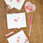 Free Valentine Cards: Watercolor Flamingo