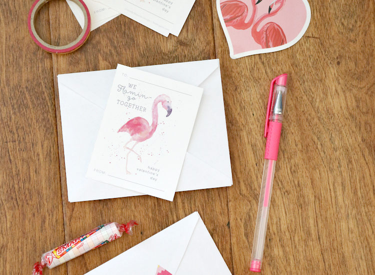 cute valentines day cards with flamingos