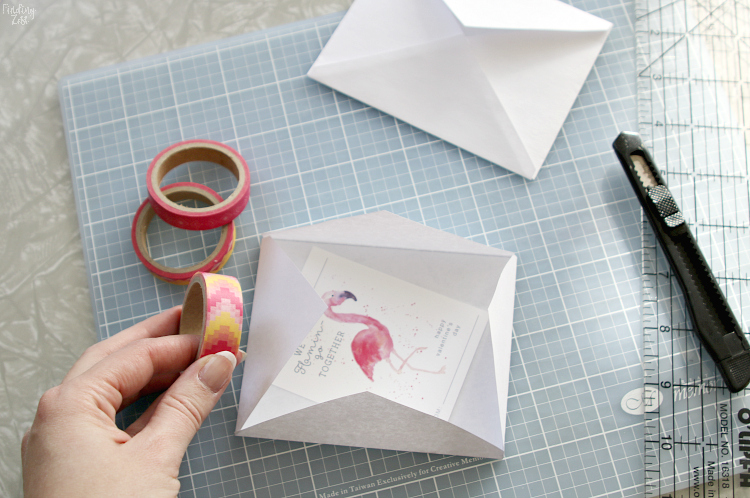assembling flamingo valentine cards