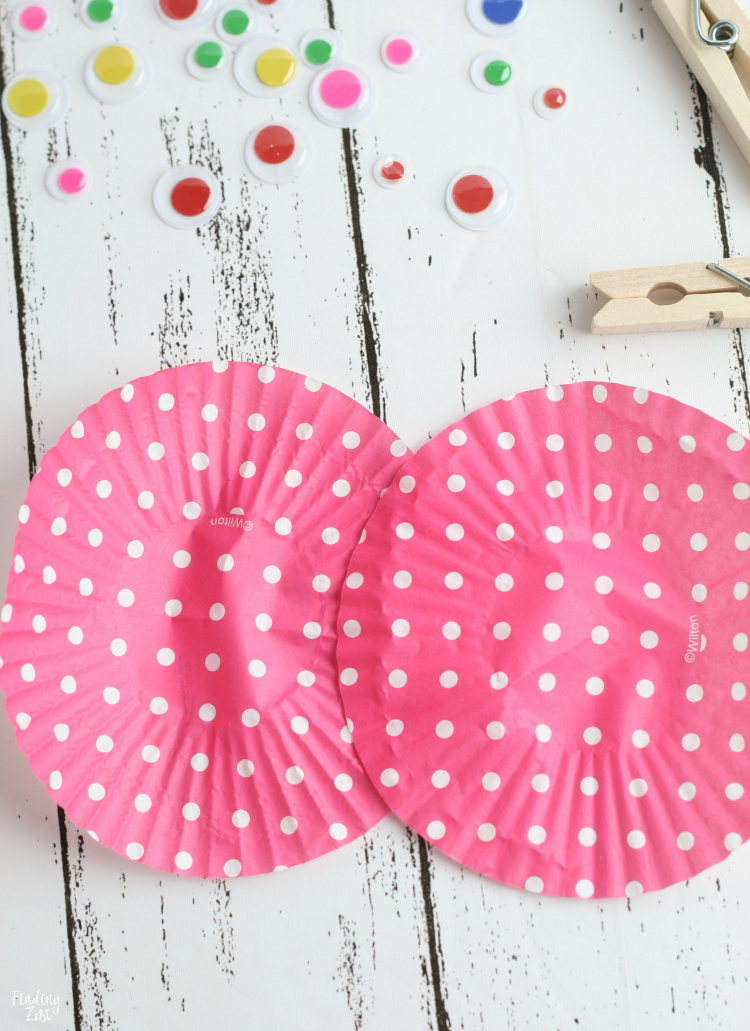 pink and white polka dot cupcake wrappers for butterfly craft