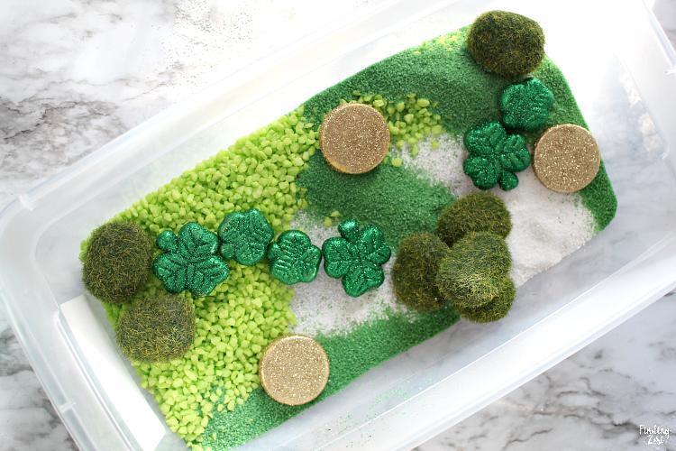 a fun leprechaun garden sensory bin
