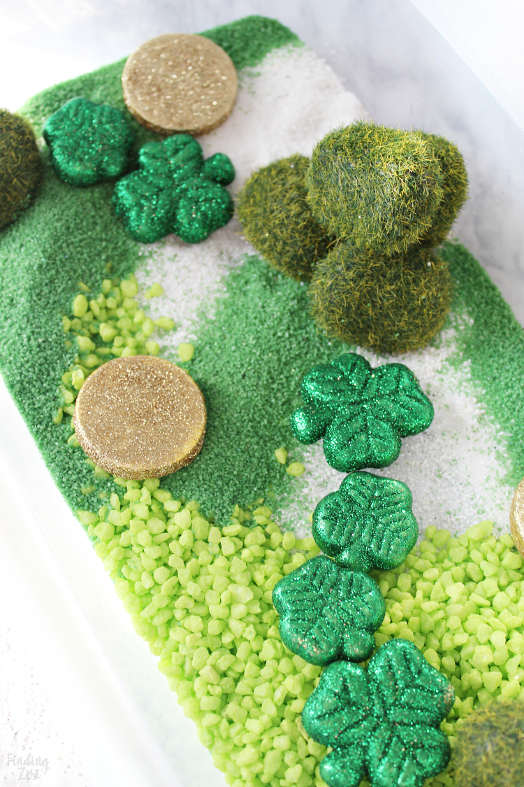 St. Patrick's Day sensory bin activity for kids