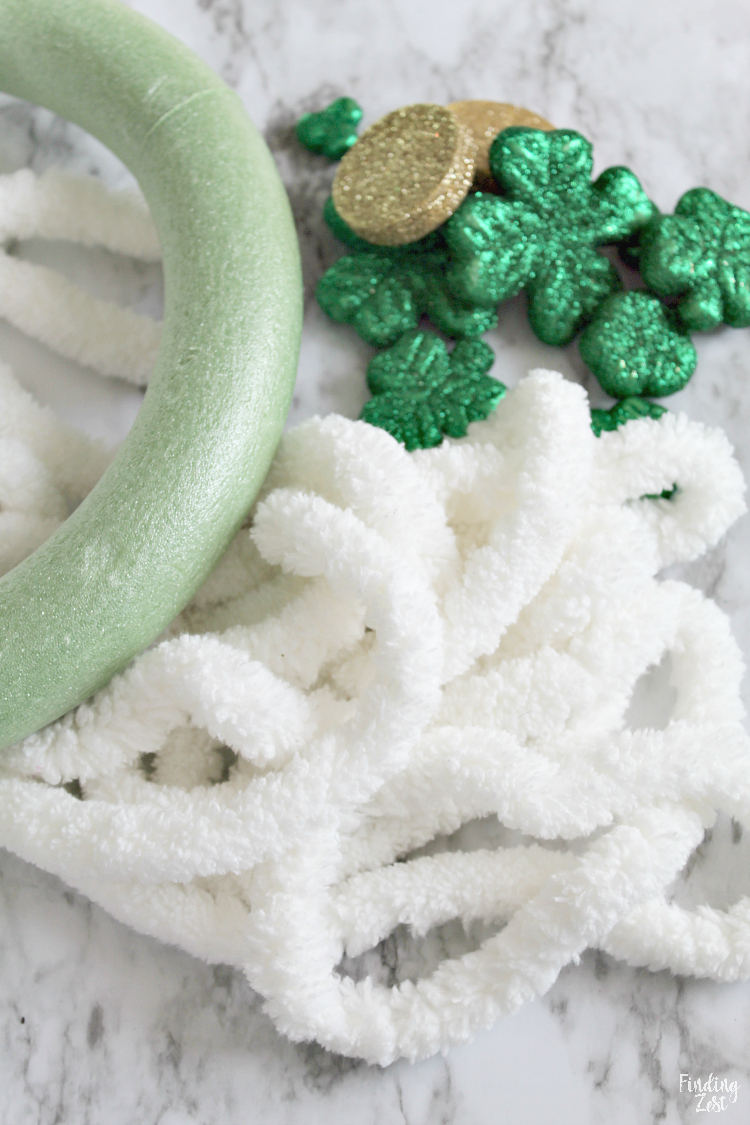 supplies to make a shamrock wreath