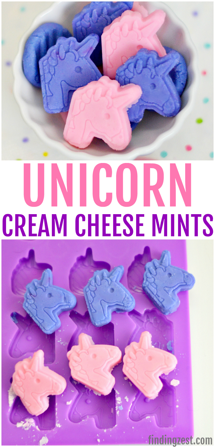 Unicorn cream cheese mints perfect for a birthday party or baby shower