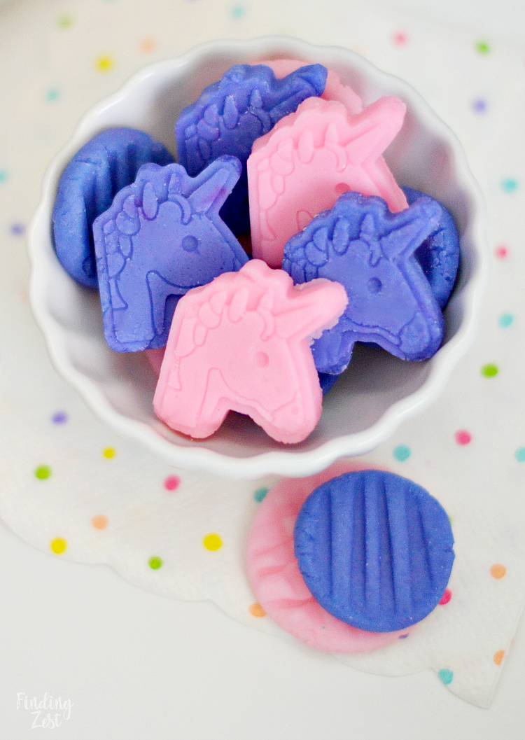 pink and purple unicorn cream cheese mints