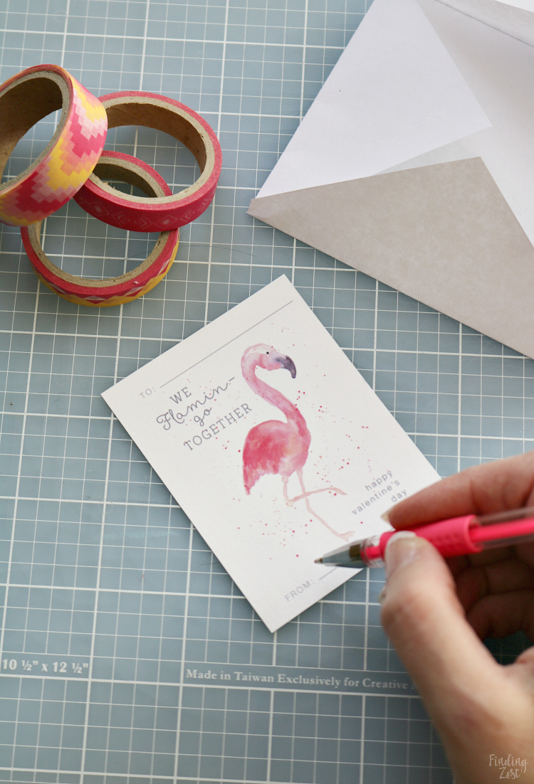 writing on watercolor flamingo valentine cards
