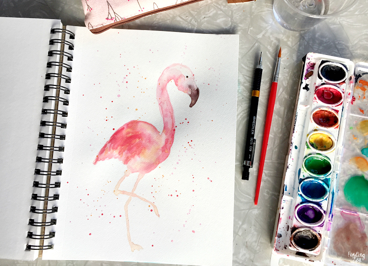 Hand drawn flamingo watercolor painting