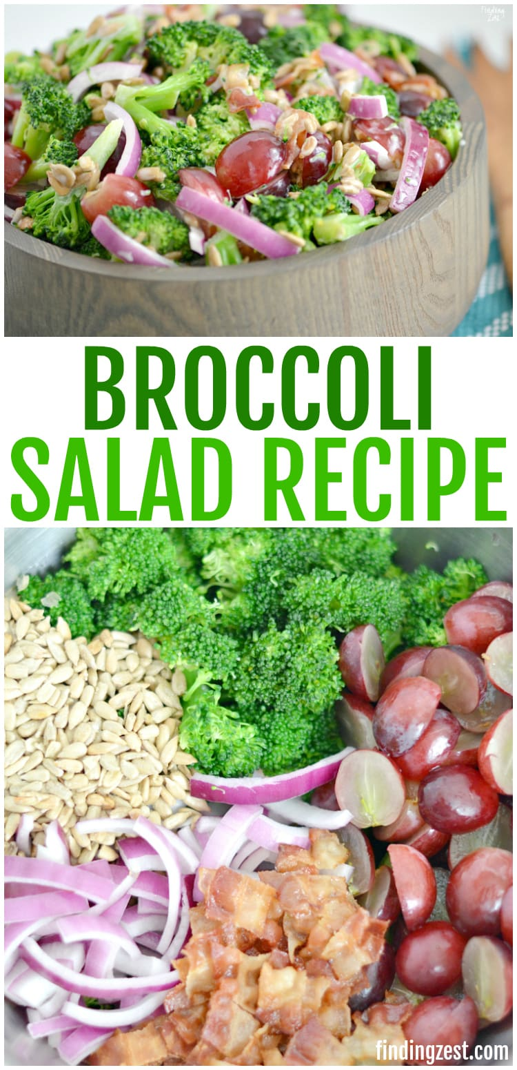 This is the best broccoli salad recipe! Everyone will love this fresh broccoli salad with bacon, grapes and sunflower seeds covered in a mayo dressing. Follow an easy tip to keep your broccoli bright green and really make this side dish stand out. Makes a great potluck salad!