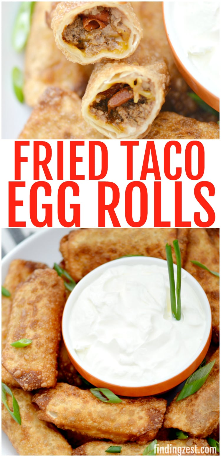 fried taco egg rolls and sour cream