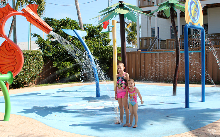 Girls at splashpad at Dolphin Research Center Florida Keys