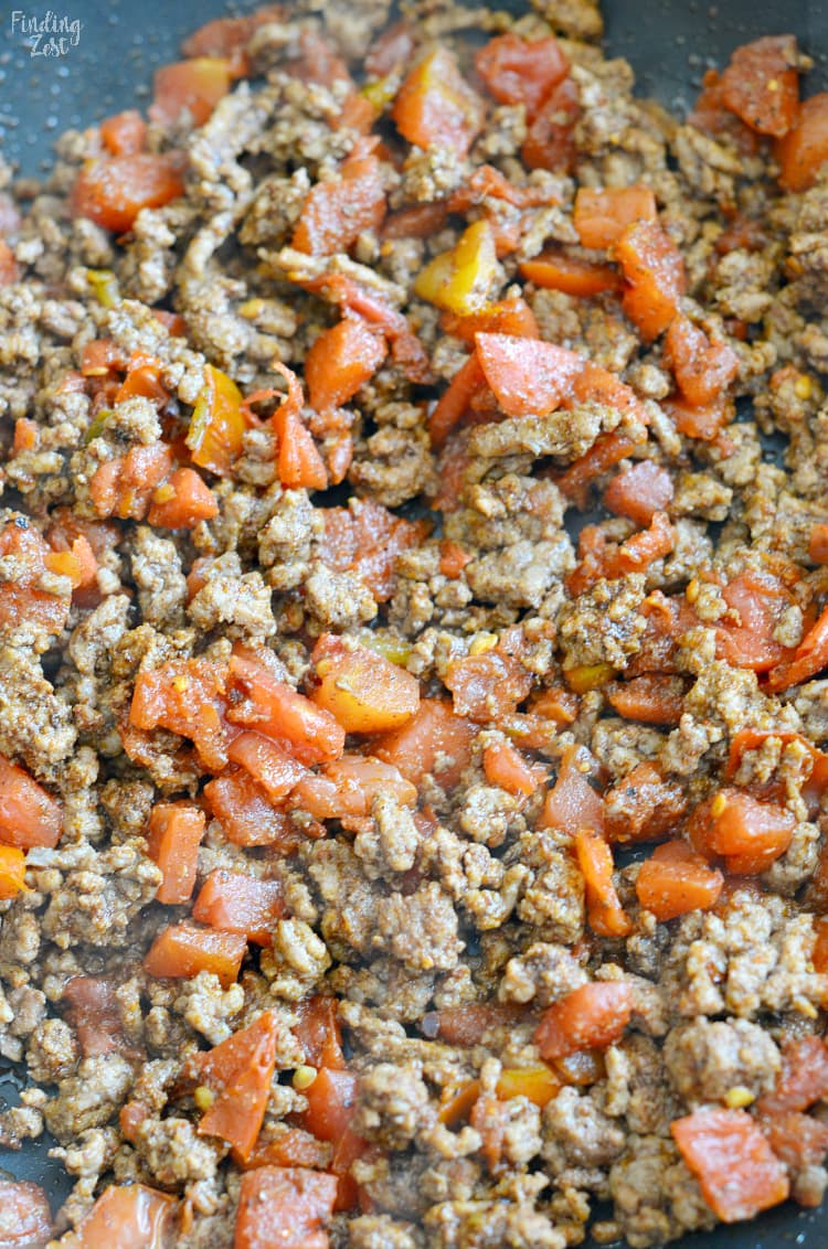 browned ground beef with taco seasoning and rotel