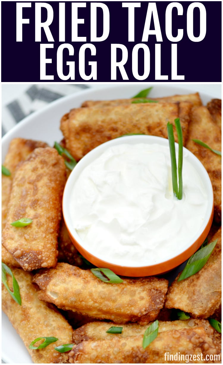 taco egg rolls served with sour cream