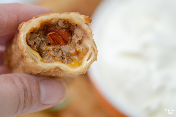 closeup inside a taco egg roll