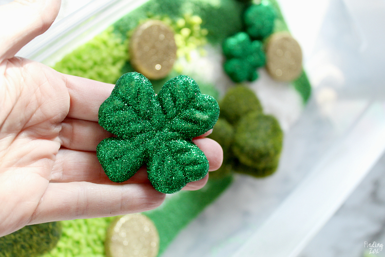 Glitter shamrock for sensory bin
