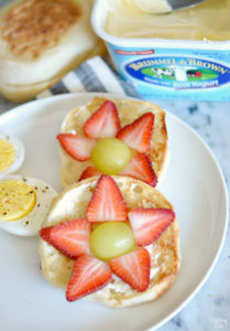 strawberry and grape fruit flower on english muffin