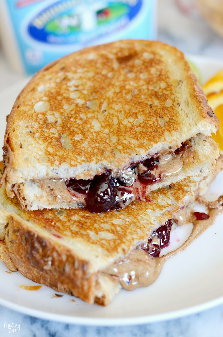 Cut grilled PBJ sandwich