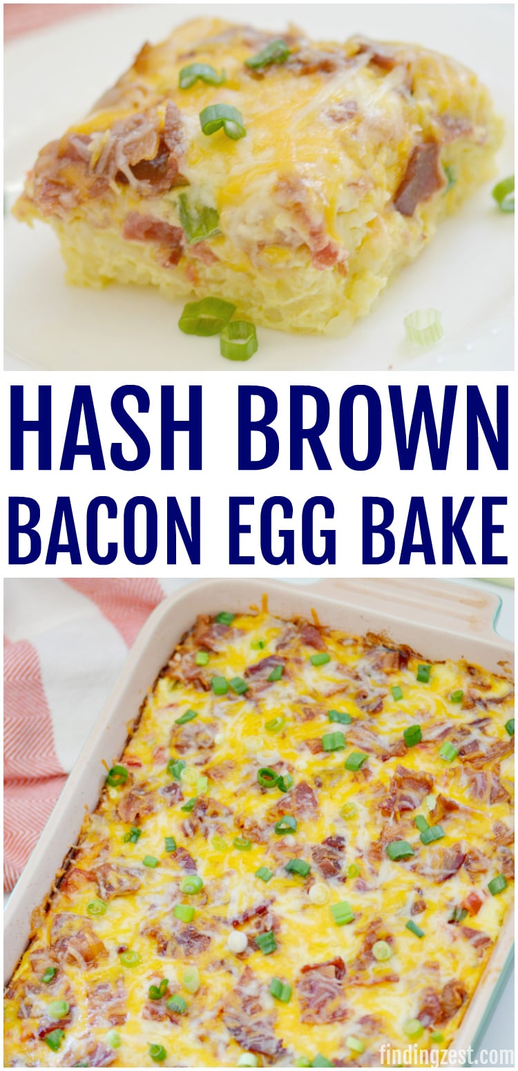 This Hash Brown Egg Bake with bacon is the perfect hearty breakfast that the whole family will love! Makes a great brunch recipe to serve for Easter, Mother's Day or any celebration.