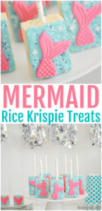 Create a no-bake dessert that is sure to impress birthday party guests with these Mermaid Rice Krispie Treats! Featuring beautiful fondant mermaid tails, this treat on a stick is actually easier to make than you might think. Display them on your party table or use them as a party favor for guests to take home. Either way, these rice cereal treats are a great addition for your mermaid themed party!