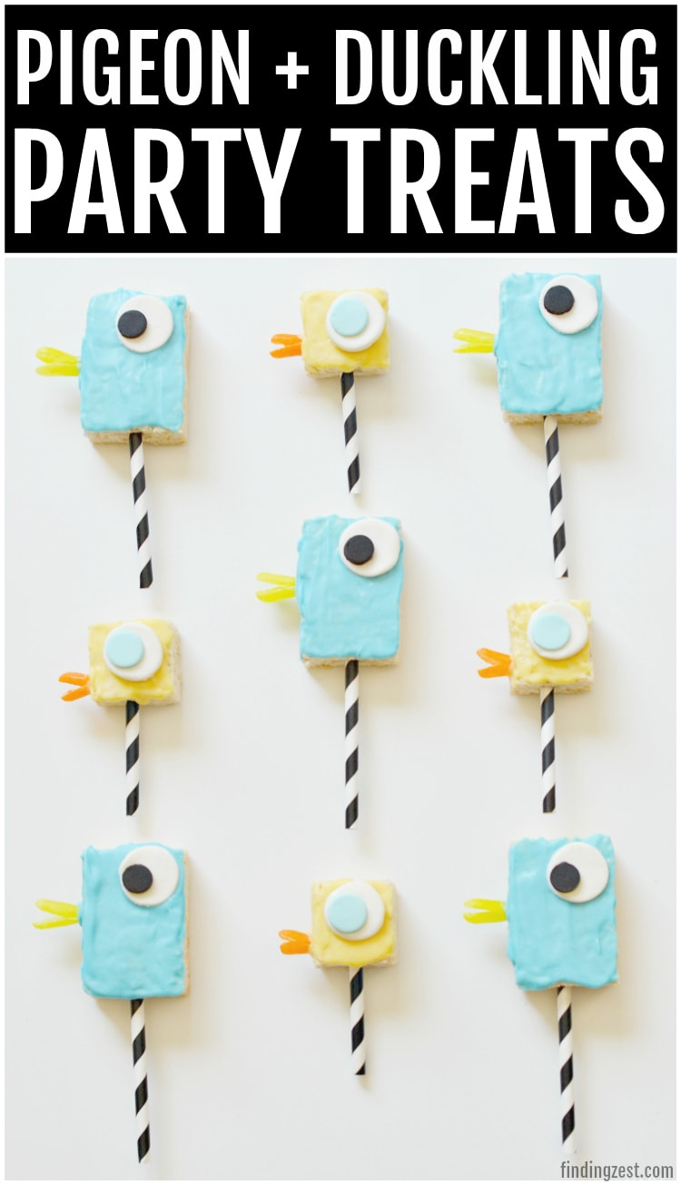 Mo Willems Pigeon and Duckling Party Treats are the perfect way to celebrate your love of these fun book characters! No one can resist these adorable cereal treats on a stick. Serve them up at your next birthday party, celebration or just because!
