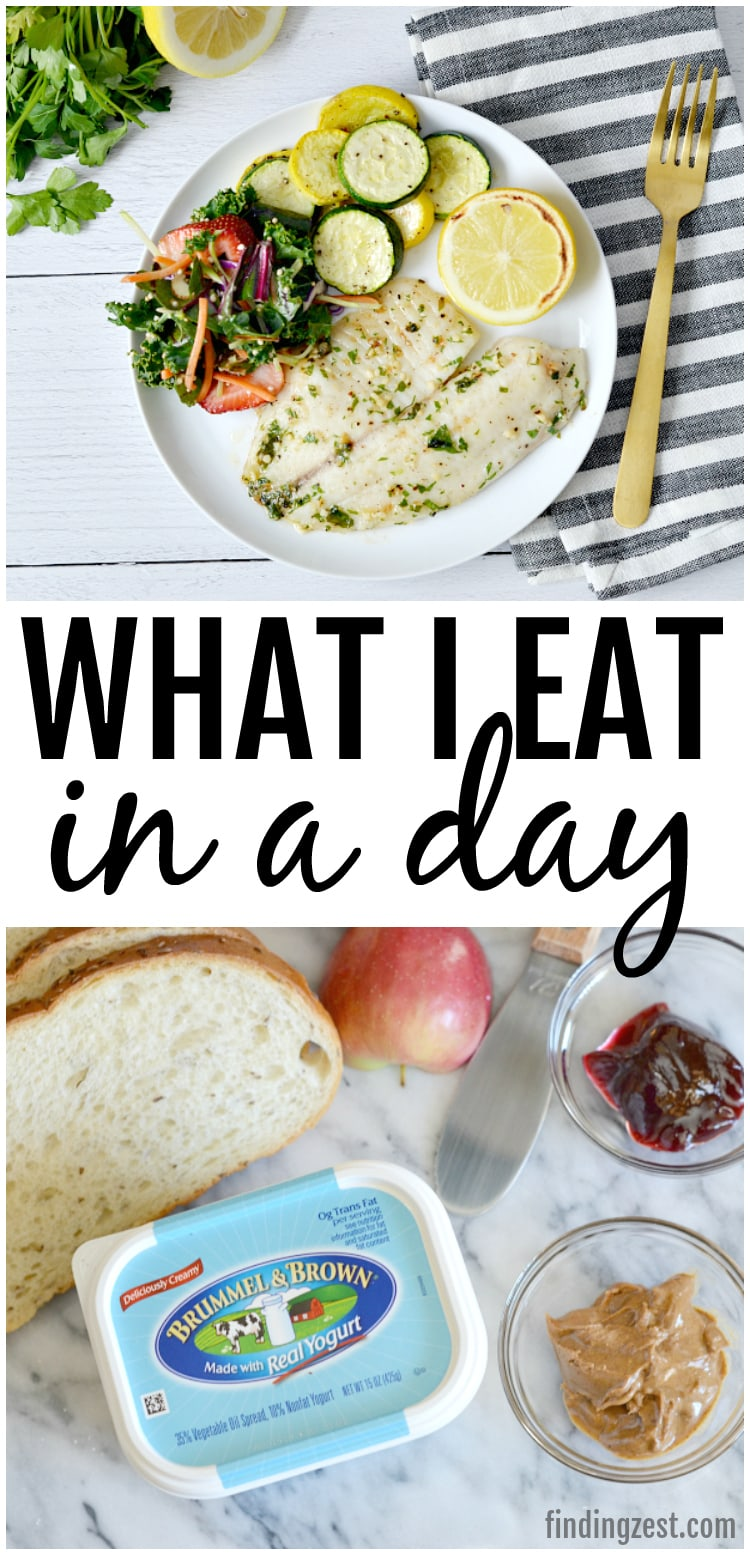 See what I eat in a day with fun and easy meal ideas for lunch, breakfast and dinner. Includes a quick garlic tilapia sheet pan meal idea that can be on your table in just 30 minutes. Your whole family will love this low carb fish dinner with roasted vegetables!