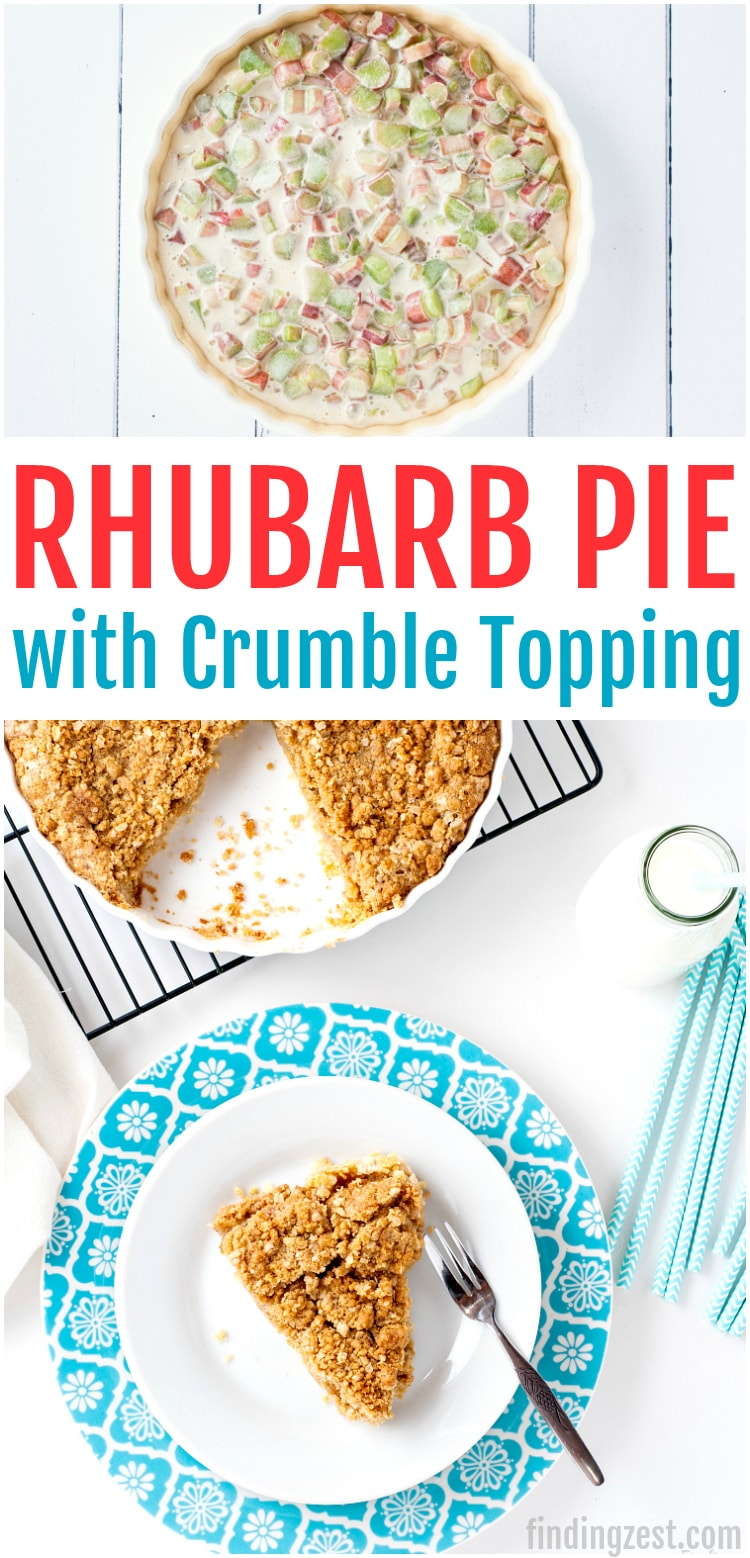 This rhubarb pie with crumble topping is an amazing spring dessert. The sweetened rhubarb is not tart once baked and the brown sugar and oatmeal topping is a perfect pairing. Serve this easy rhubarb pie warm or cold with a scoop of vanilla ice cream for an irresistible treat!