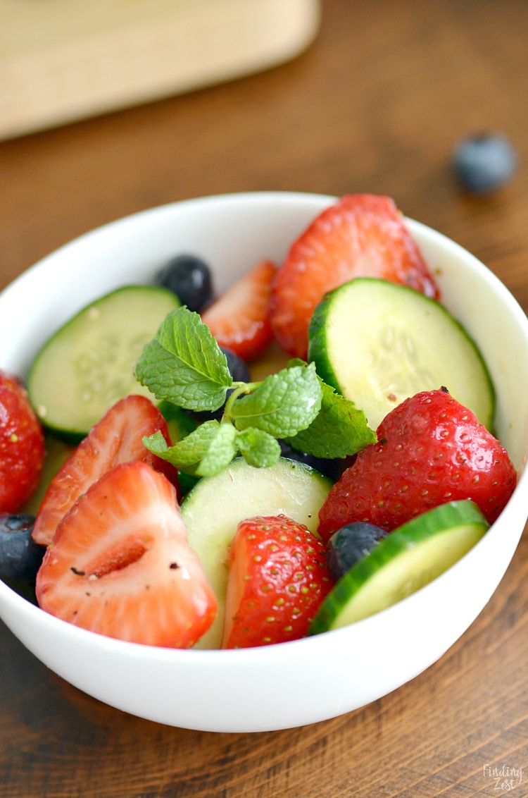 Fresh strawberry salad in a bowl.