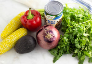 Ingredients needed for black bean corn salad