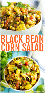 This black bean corn salad is the perfect summer side dish recipe and a great way to enjoy fresh corn! Serve it at your next cookout or picnic for an easy to transport side dish. Everyone will love this summer corn salad recipe that is bursting with southwest flavors.