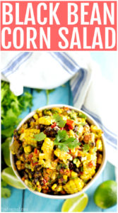 Serve this delicious summer corn salad at your next cookout or picnic for an easy to transport side dish. Everyone will love this black bean corn salad that is bursting with southwest flavors. Try pairing it with your favorite grilled meat or fish.