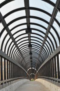 Arched Steel Canopy Bridge in Waterloo Iowa
