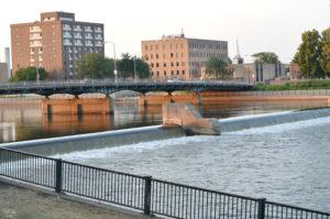 View from the 4th Street Bridge Cedar River Downtown Waterloo