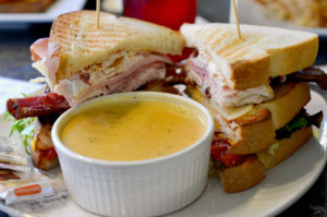 Club sandwich and broccoli cheddar soup at Newtons Cafe in Waterloo