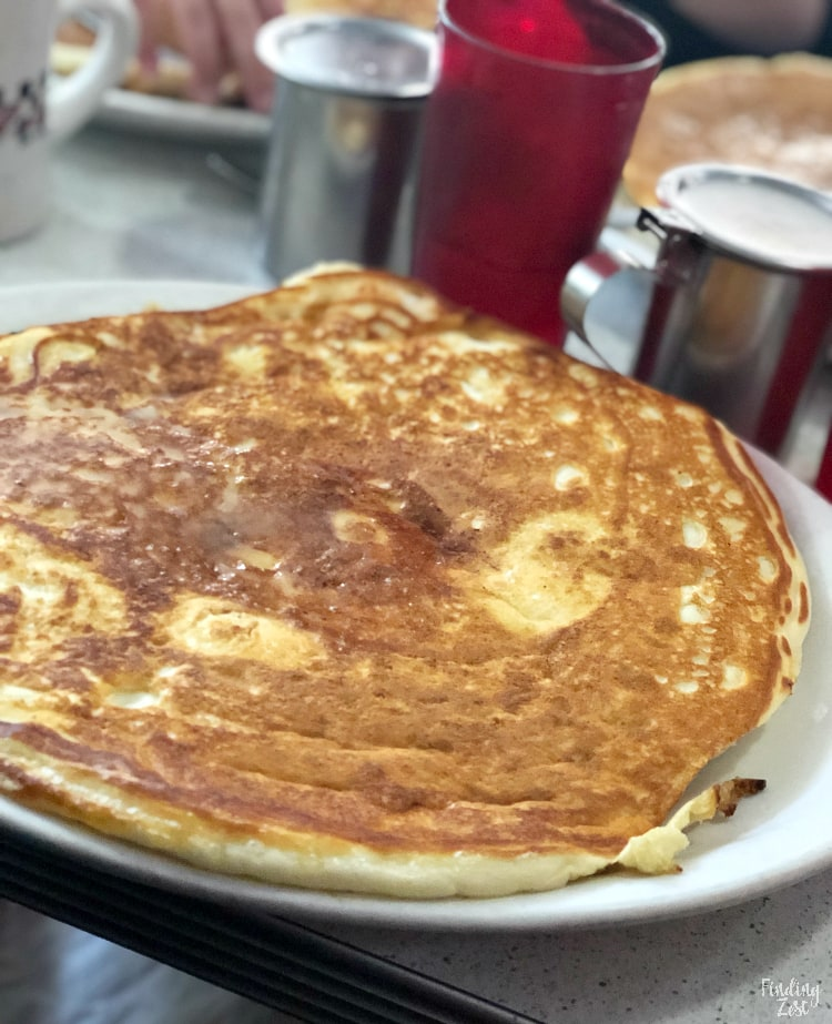 Giant pancake served at Morgs Diner in Waterloo Iowa