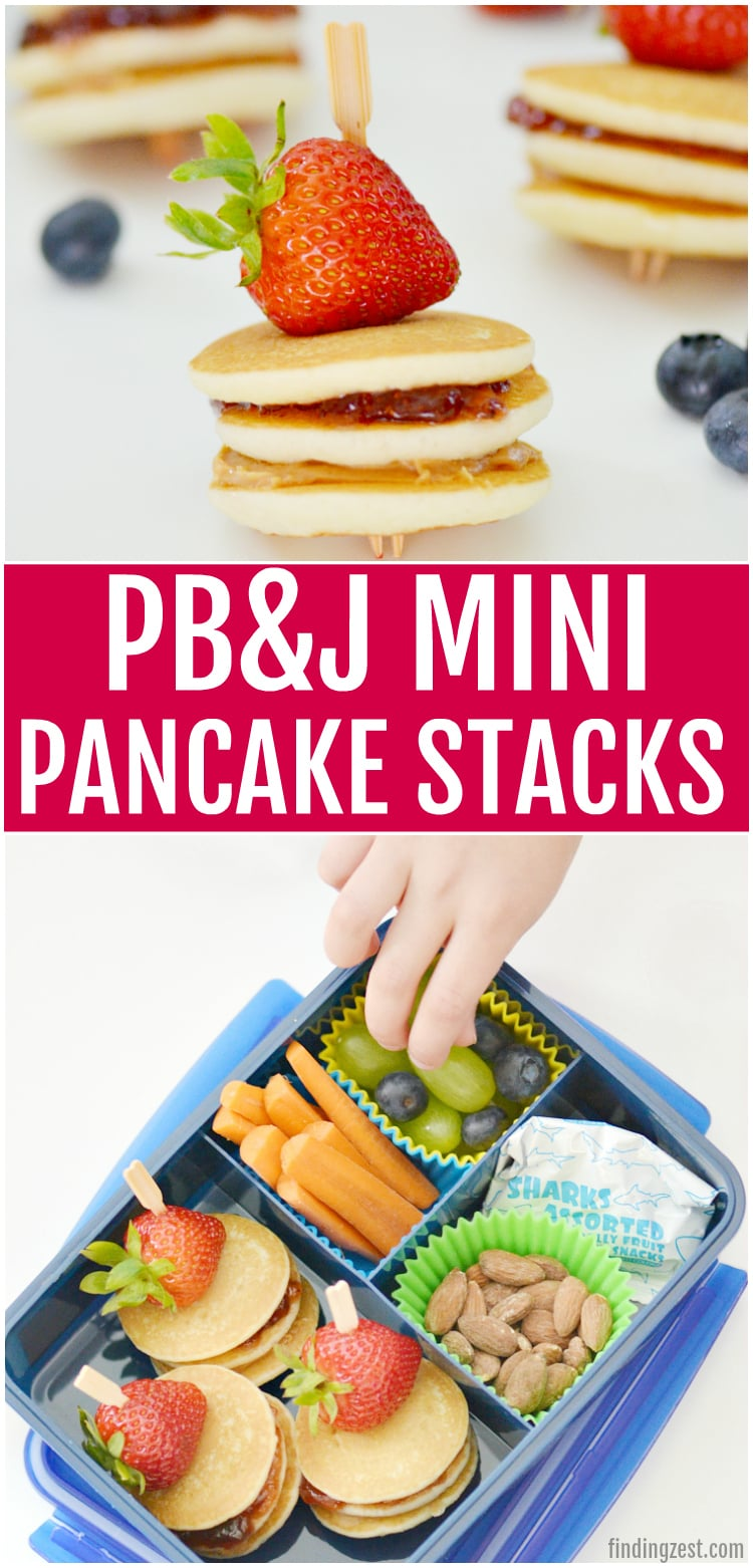 Looking for school lunch ideas? Kids will love these peanut butter and jelly mini pancakes stacks! This quick and easy lunch recipe is perfect for any pb&j lover. Who says you can't enjoy a classic breakfast and lunch at the same time?
