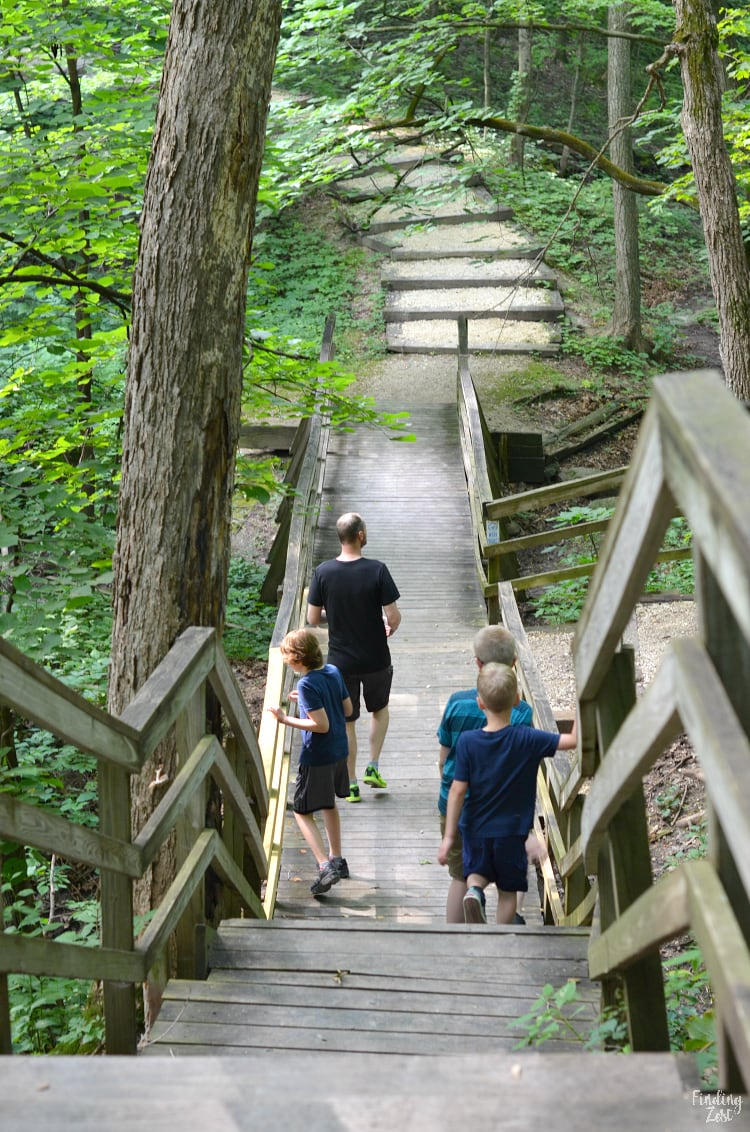 Walking on a bridge at the Hartman Reserve Nature Center