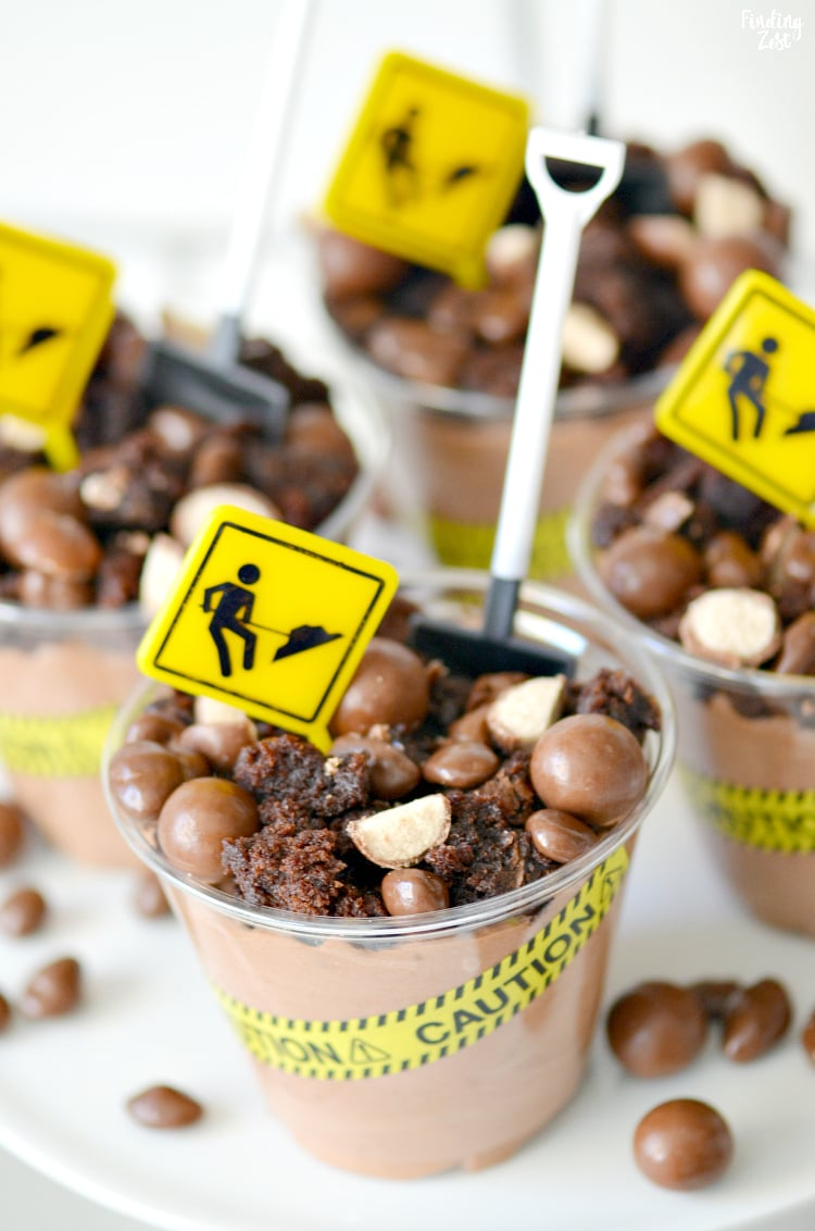 Construction Birthday Party Dessert Cups