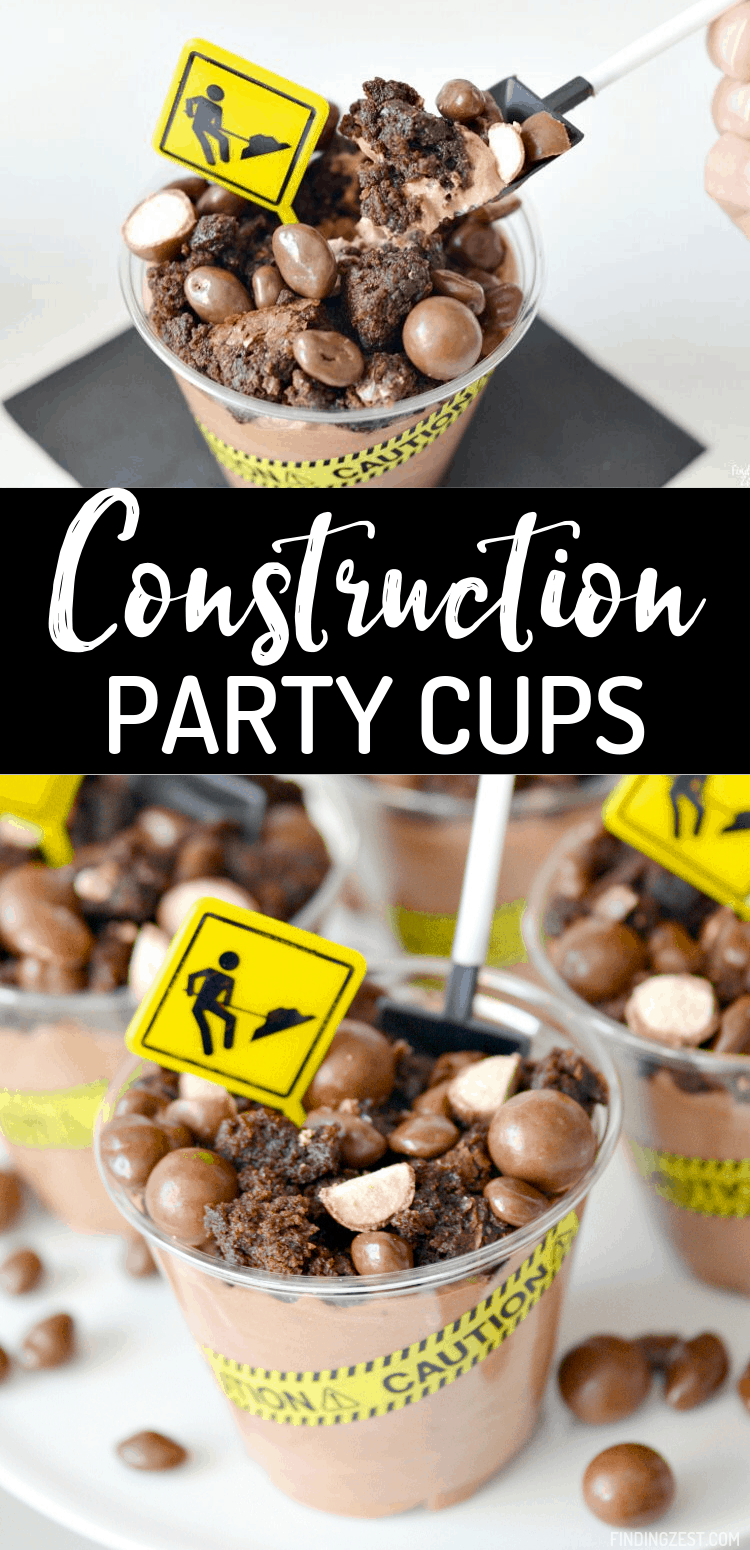 No chocolate lover can resist these construction birthday party cups that are sure to be a hit! Chocolate mousse is topped with brownies and chocolate candies to mimic dirt and rocks.  Caution tape, shovel spoons, and construction sign party picks really make these dessert cups stand out at your construction party!