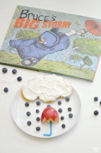 Food art rain cloud and umbrella inspired by Bruce's Big Storm children's book
