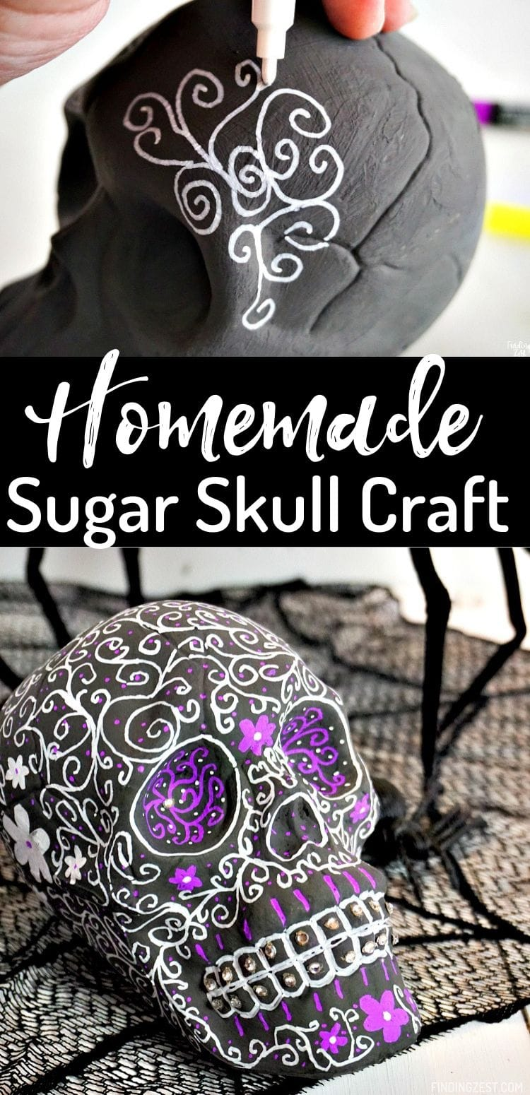 This homemade sugar skull is the perfect Halloween craft and made using a skull from the dollar store! Add to your Halloween decor with this cool craft that requires minimal artistic talent.