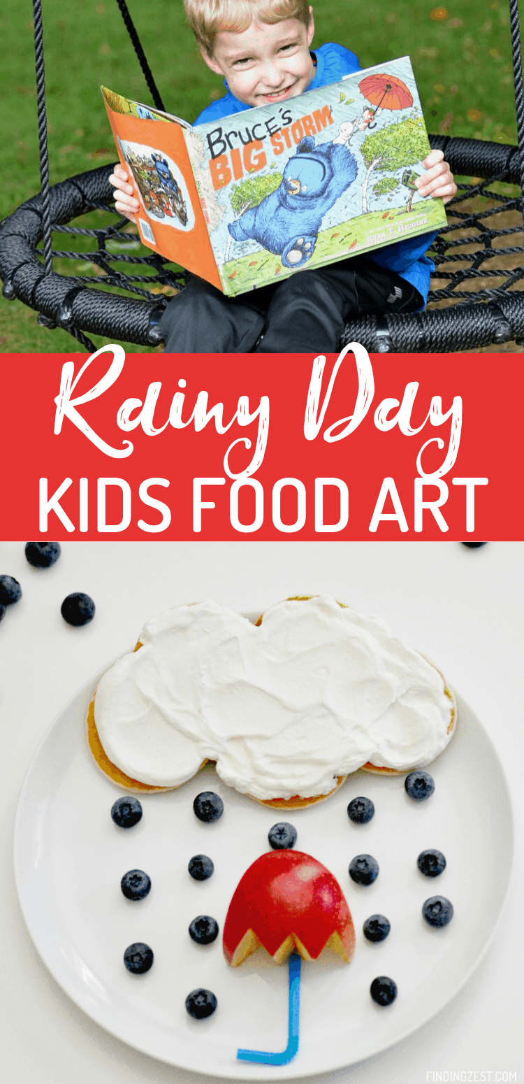 Chase away the rainy day blues with this kids food art! Who can resist these mini pancake clouds, blueberry rain, and red apple umbrella? Kids will love this rainy day breakfast inspired by the children's book, Bruce's Big Storm by Ryan T. Higgins.