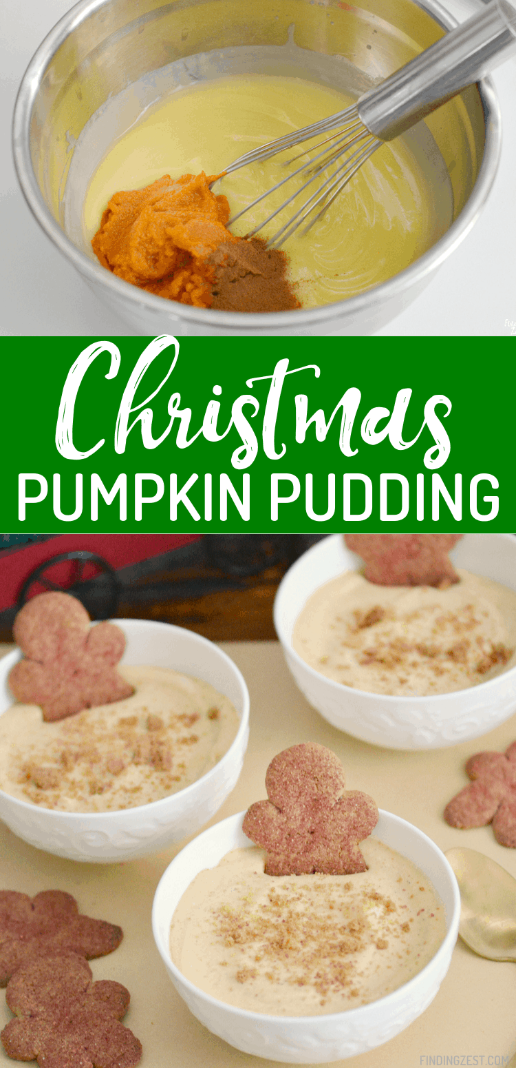 This pumpkin pudding recipe is the perfect blend of Christmas and Thanksgiving flavors. With canned pumpkin and cinnamon, this box pudding mix is transformed into something magical in just 5 minutes. Serve with gingerbread cookies for garnish or dipping!