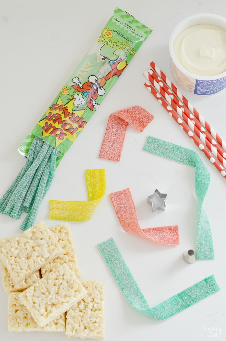 Ingredients needed to make Christmas Tree Rice Krispie Treats with Sour Power Candy