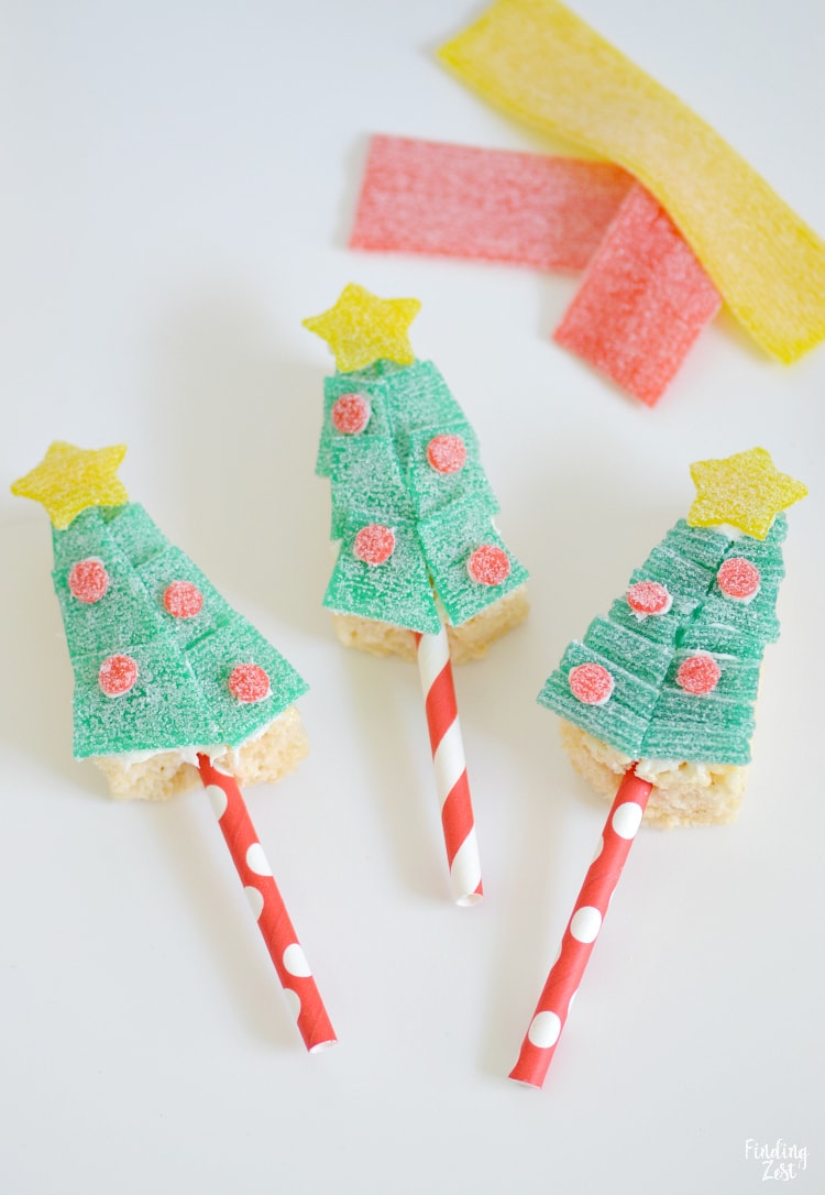Easy holiday rice krispie treats in the shape of trees