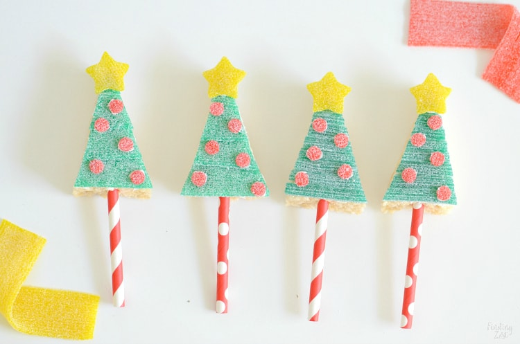 Holiday Rice Krispie Treats in the Shape of Trees