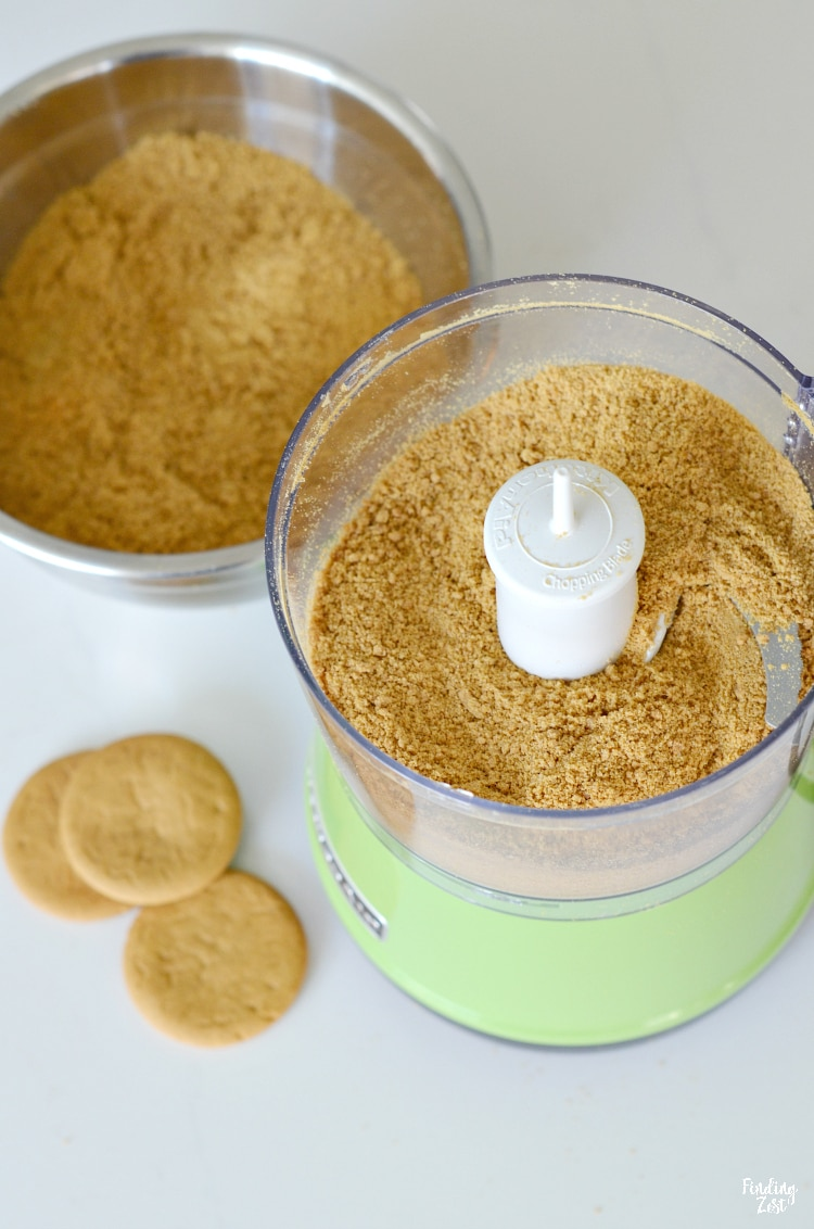 Crushed gingersnaps in a food processor