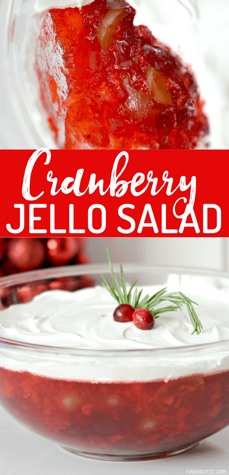 Cranberry Jello Salad is a new staple for your holiday feast! Whether you serve this cranberry salad for Thanksgiving or Christmas dinner, it is sure to be hit with Jello lovers! Featuring canned whole cranberries, crushed pineapples and sliced grapes, this is a colorful and refreshing holiday side dish!