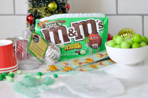 Ingredients and supplies for grinch party favors
