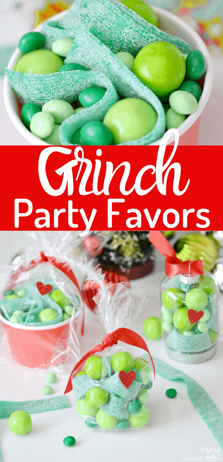 Christmas party favors are made easy with these Grinch gifts! Whether you hand out candy-filled The Grinch ornaments or go a more traditional route using party bags and cups, everyone will love to receive one of these three Grinch party favor ideas!