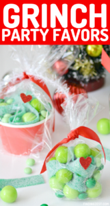 Grinch themed Christmas party favors come to life with these three easy ideas! Make your own Grinch ornaments using candy or keep it extra simple with some party bags or snack cups. Either way, they are sure to be a hit with all ages!