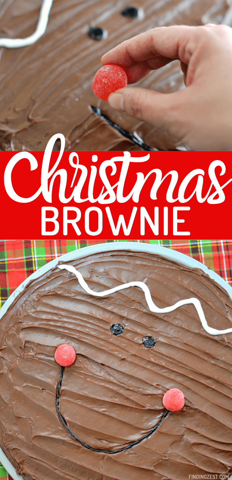 Christmas Brownies are easy when you make a brownie pizza! This cute gingerbread boy is a quick way to to turn a simple brownie mix into something special for the holidays. Have fun decorating and add as much detail as you want with this kid friendly Christmas brownie recipe!